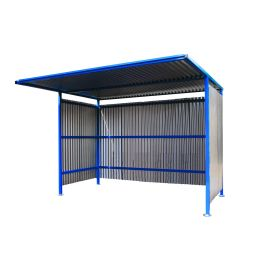 Traditional Cycle Shelter with Galvanised Sides and Closed Back