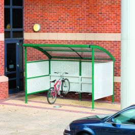 Premier Cycle Shelter with Perforated Steel Sides