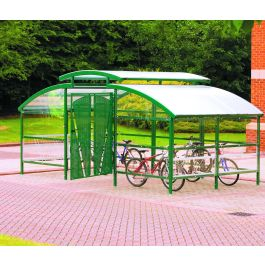Cycle Compound With Lockable Gate and Security Canopy