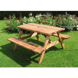 Fenton Durable & Strong Wooden Pub Picnic Bench - 4 Seater