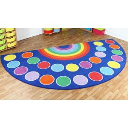 Rainbow Semi-Circle Classroom Placement Carpet