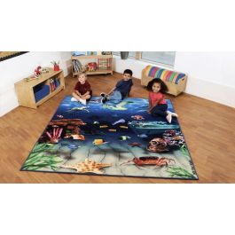 Natural World Ocean and Beach Double Sided Classroom Carpet