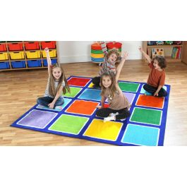 Rainbow Square Placement Classroom Carpet