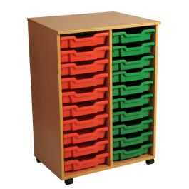Double Column 20 Shallow Tray Mobile Storage Unit