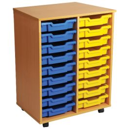 Double Column 18 Shallow Tray Mobile Classroom Storage Unit