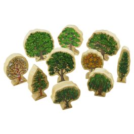 Wooden Trees - Set of 10