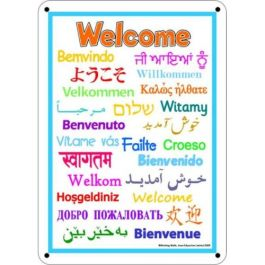 Outdoor Welcome Languages Board