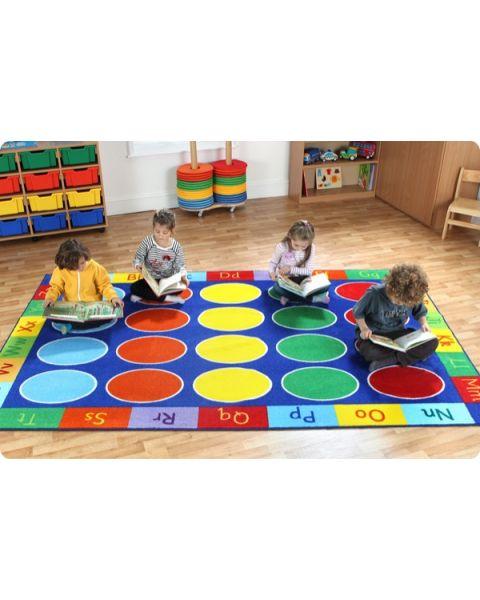 Rainbow ABC Rectangle Classroom Carpet