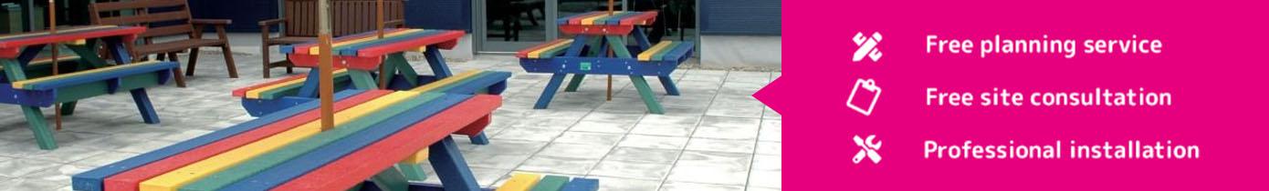 plastic benches